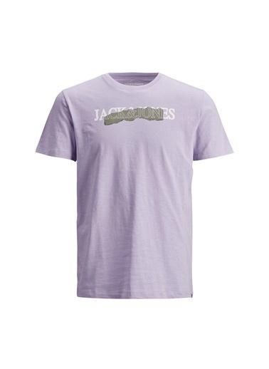 Jack & Jones Jack & Jones Erkek Açık Lila Bisiklet Yaka T-Shirt Lila